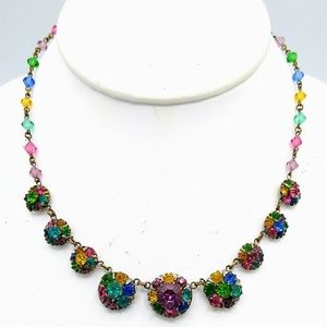 VTG Signed Czechoslovakia RS & Crystal Necklace